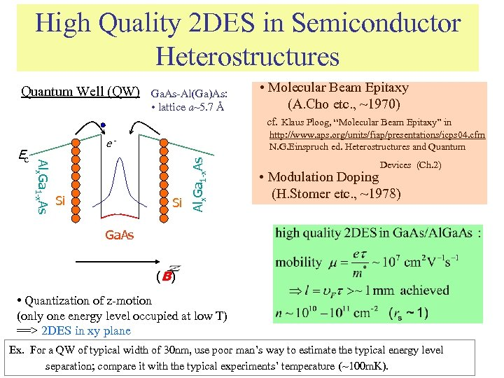 High Quality 2 DES in Semiconductor Heterostructures Quantum Well (QW) Si Alx. Ga 1