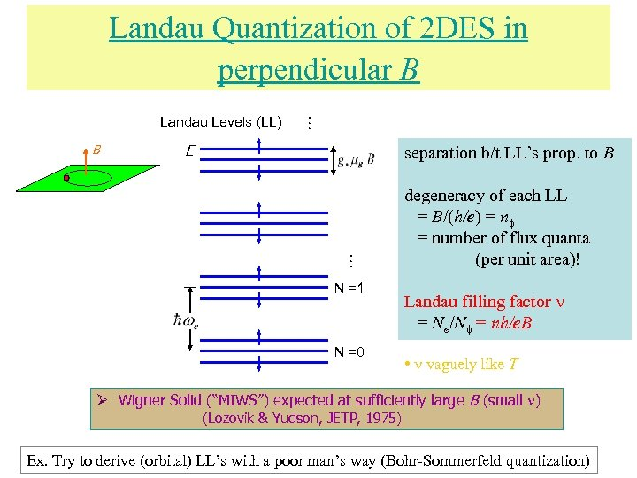 Landau Levels (LL) E separation b/t LL's prop. to B … Landau Quantization of