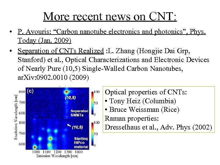 "More recent news on CNT: • P. Avouris: ""Carbon nanotube electronics and photonics"", Phys."