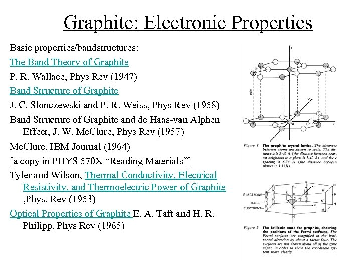 Graphite: Electronic Properties Basic properties/bandstructures: The Band Theory of Graphite P. R. Wallace, Phys