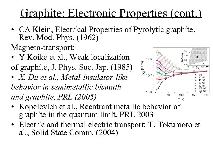 Graphite: Electronic Properties (cont. ) • CA Klein, Electrical Properties of Pyrolytic graphite, Rev.