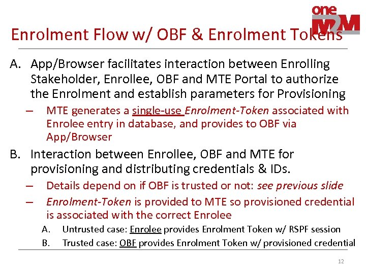 Enrolment Flow w/ OBF & Enrolment Tokens A. App/Browser facilitates interaction between Enrolling Stakeholder,