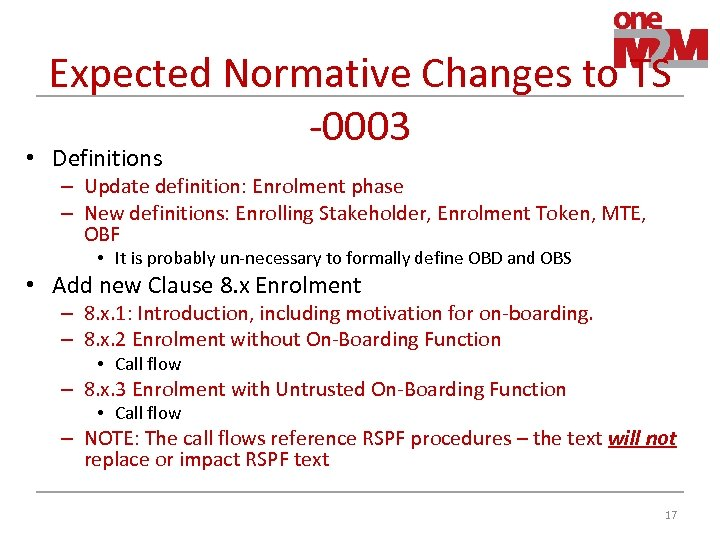 Expected Normative Changes to TS -0003 • Definitions – Update definition: Enrolment phase –