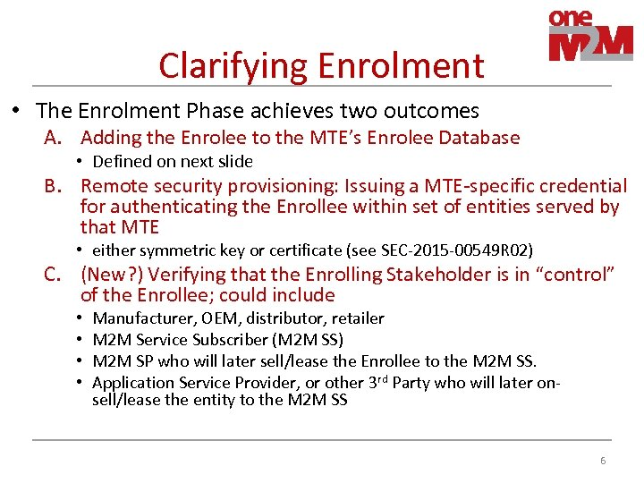 Clarifying Enrolment • The Enrolment Phase achieves two outcomes A. Adding the Enrolee to