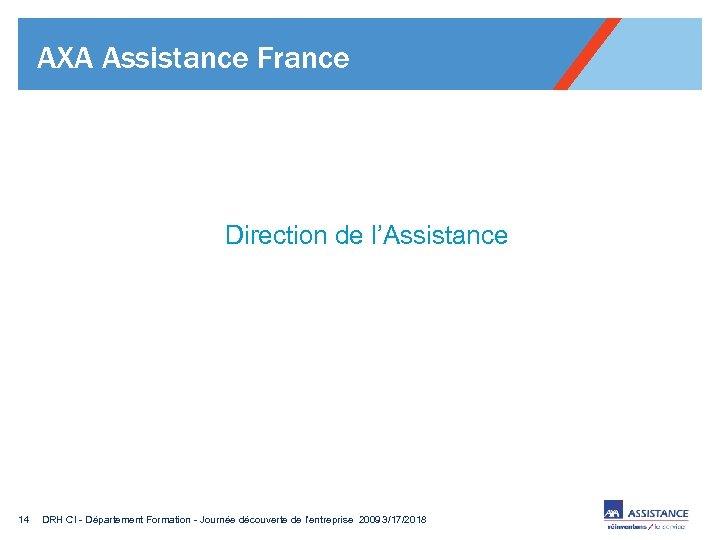 AXA Assistance France Direction de l'Assistance 14 DRH CI - Département Formation - Journée