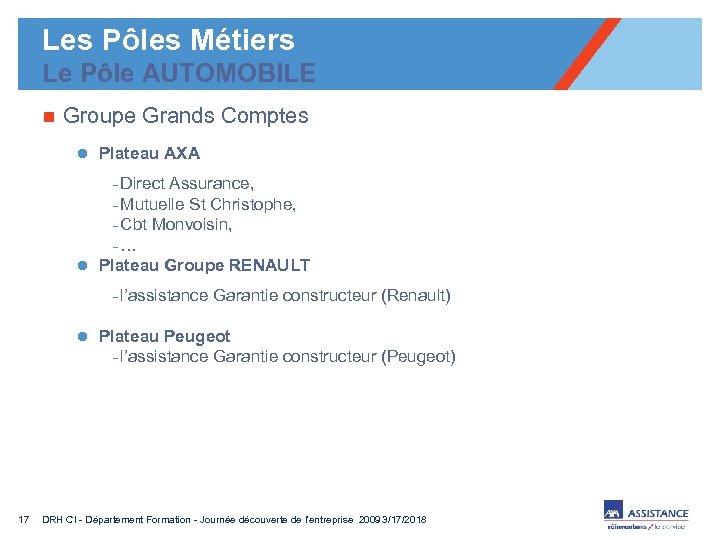 Les Pôles Métiers Le Pôle AUTOMOBILE n Groupe Grands Comptes l Plateau AXA -