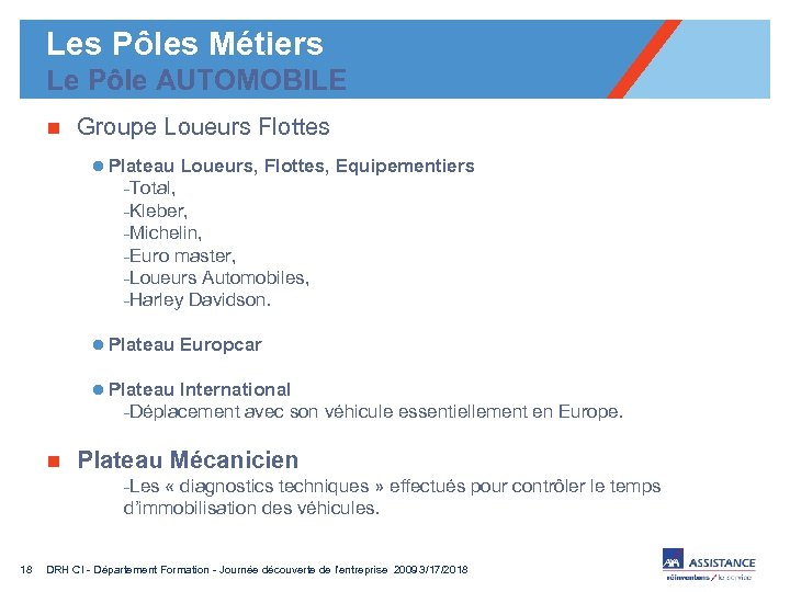 Les Pôles Métiers Le Pôle AUTOMOBILE n Groupe Loueurs Flottes l Plateau Loueurs, Flottes,