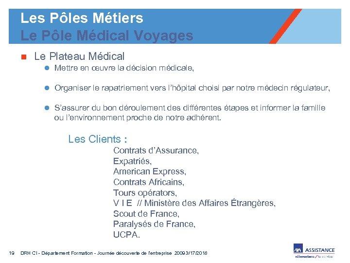 Les Pôles Métiers Le Pôle Médical Voyages n Le Plateau Médical l Mettre en