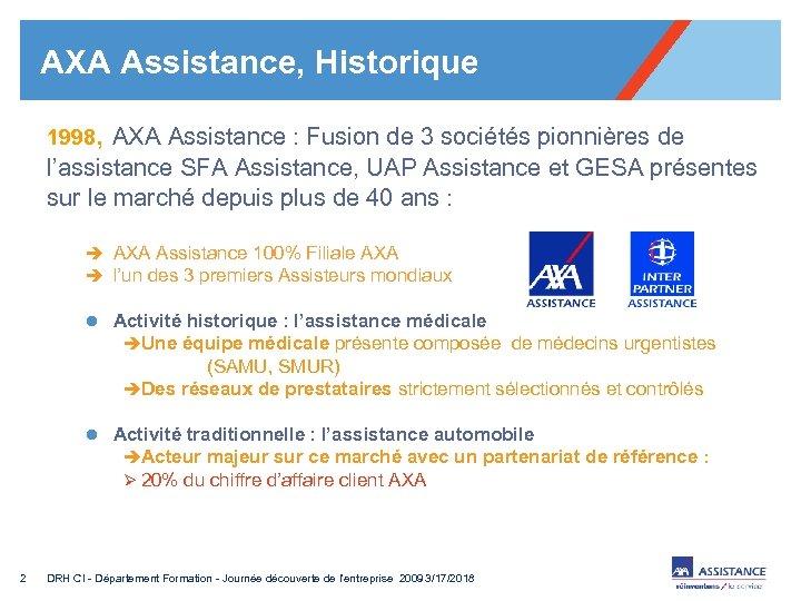 AXA Assistance, Historique 1998, AXA Assistance : Fusion de 3 sociétés pionnières de