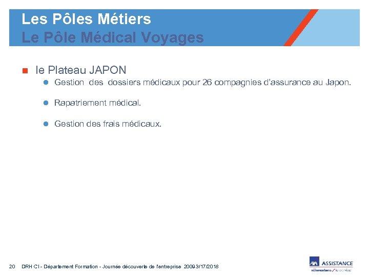 Les Pôles Métiers Le Pôle Médical Voyages n le Plateau JAPON l Gestion des