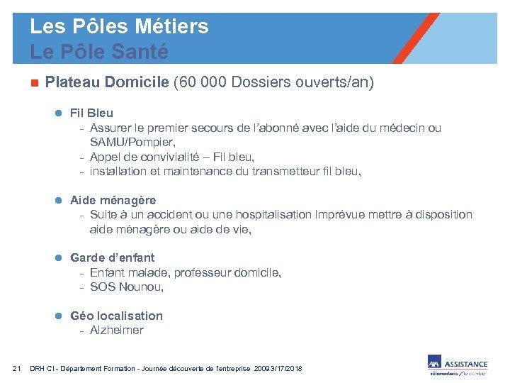 Les Pôles Métiers Le Pôle Santé n Plateau Domicile (60 000 Dossiers ouverts/an) l