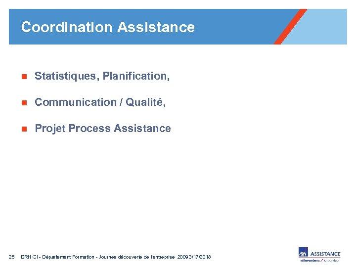 Coordination Assistance n n Communication / Qualité, n 25 Statistiques, Planification, Projet Process Assistance