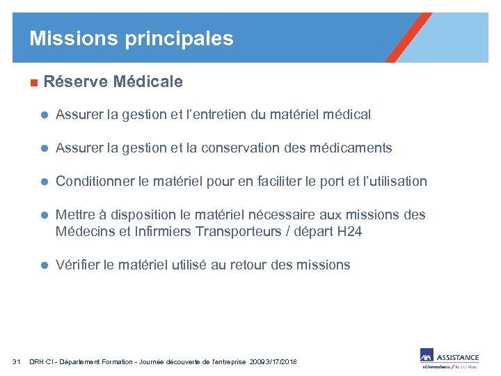 Missions principales n Réserve Médicale l Assurer la gestion et l'entretien du matériel médical