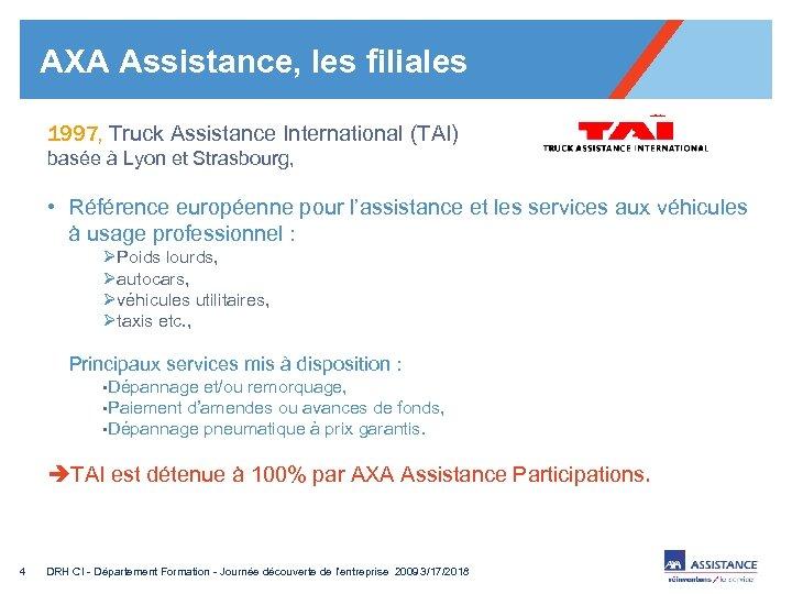 AXA Assistance, les filiales 1997, Truck Assistance International (TAI) basée à Lyon et