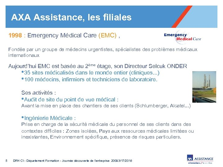 AXA Assistance, les filiales 1998 : Emergency Médical Care (EMC) , Fondée par