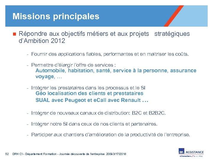 Missions principales n Répondre aux objectifs métiers et aux projets stratégiques d'Ambition 2012 -