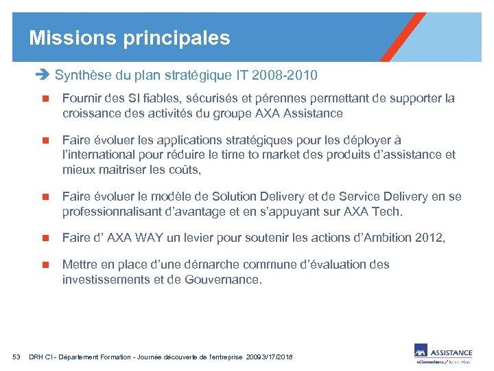 Missions principales è Synthèse du plan stratégique IT 2008 -2010 n n Faire évoluer