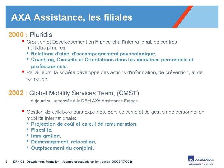 AXA Assistance, les filiales 2000 : Pluridis § Création et Développement en France