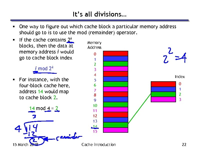 It's all divisions… § One way to figure out which cache block a particular