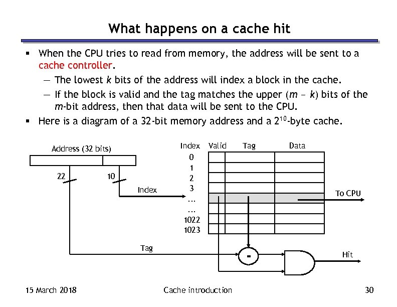 What happens on a cache hit § When the CPU tries to read from