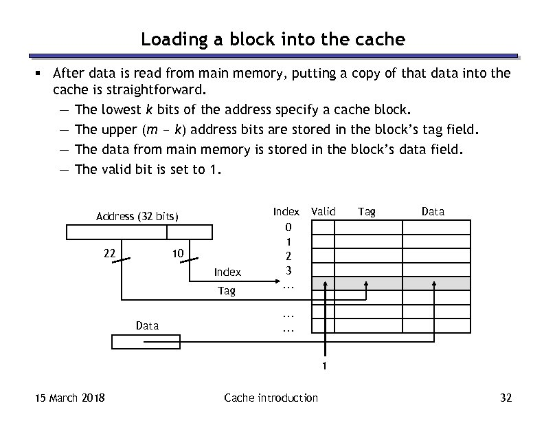 Loading a block into the cache § After data is read from main memory,