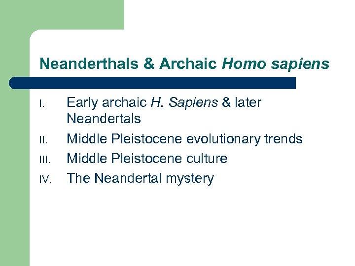 Neanderthals & Archaic Homo sapiens I. III. IV. Early archaic H. Sapiens & later