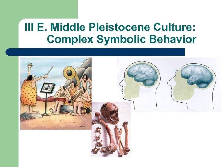 III E. Middle Pleistocene Culture: Complex Symbolic Behavior