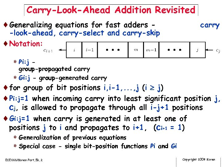 Carry-Look-Ahead Addition Revisited ¨Generalizing equations for fast adders - -look-ahead, carry-select and carry-skip ¨Notation: