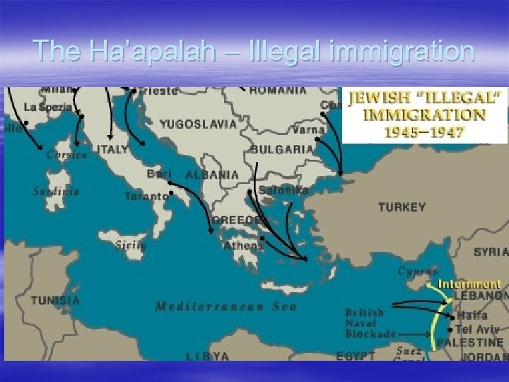 The Ha'apalah – Illegal immigration § The Bricha organization smuggled Jews who wanted to