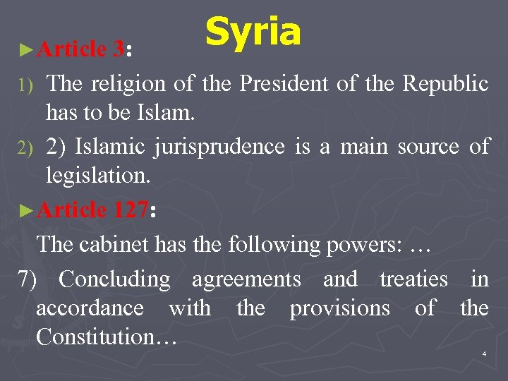 ►Article 3: Syria The religion of the President of the Republic has to be