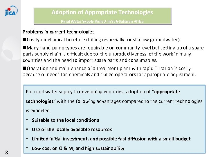 Adoption of Appropriate Technologies Rural Water Supply Project in Sub-Saharan Africa Problems in current