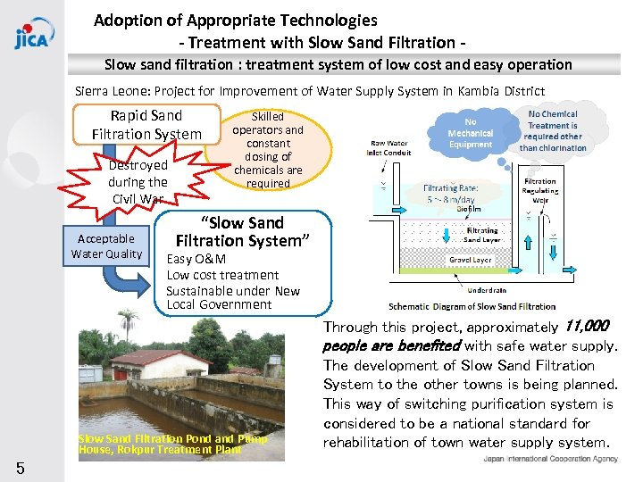 Adoption of Appropriate Technologies - Treatment with Slow Sand Filtration Slow sand filtration :