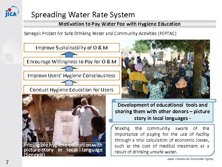 Spreading Water Rate System Motivation to Pay Water Fee with Hygiene Education Senegal: Project