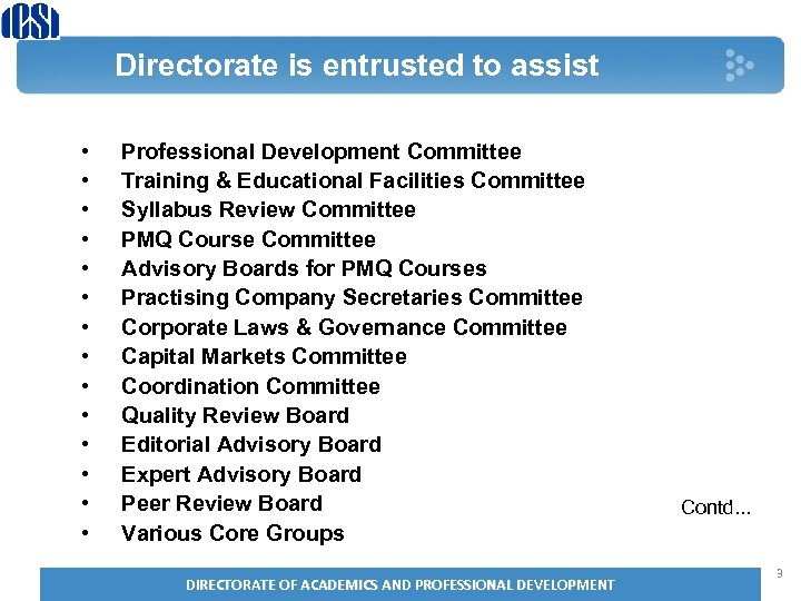Directorate is entrusted to assist • • • • Professional Development Committee Training &
