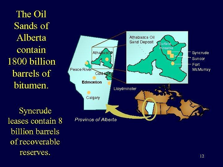 The Oil Sands of Alberta contain 1800 billion barrels of bitumen. Athabasca Oil Sand