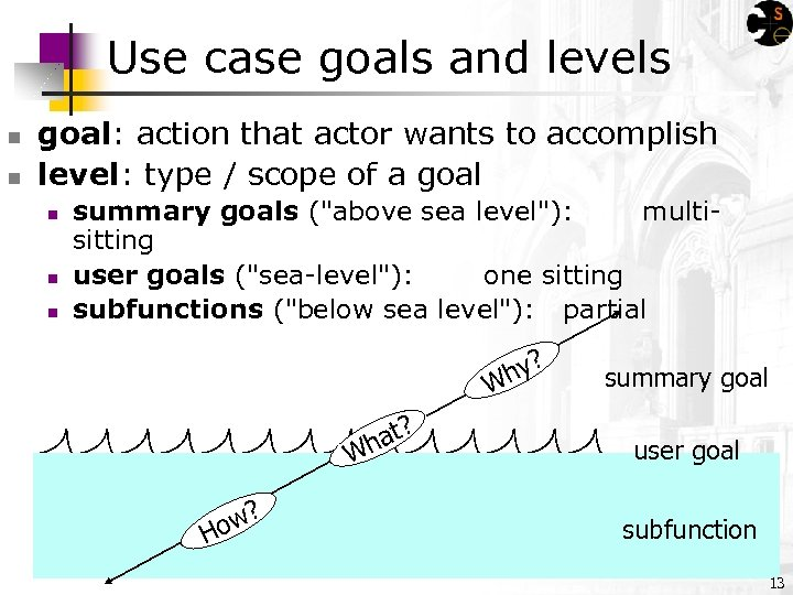 Use case goals and levels n n goal: action that actor wants to accomplish