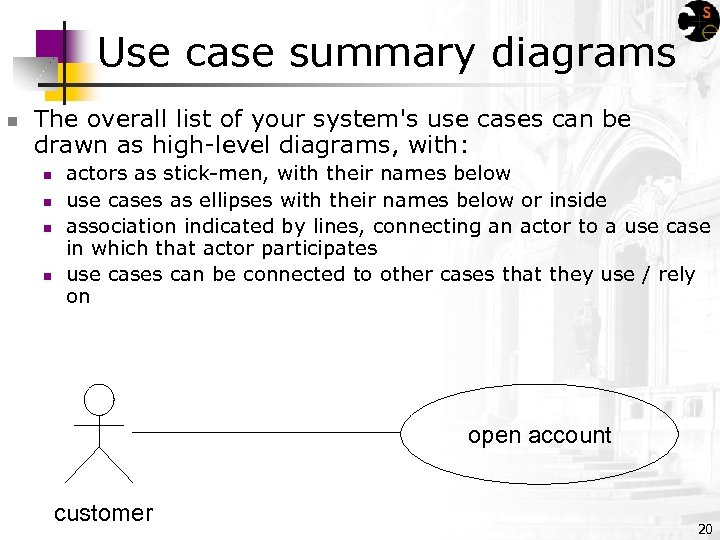 Use case summary diagrams n The overall list of your system's use cases can