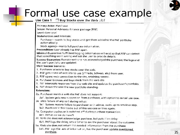 Formal use case example 25