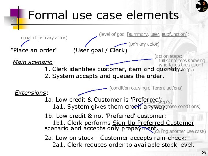 Formal use case elements (goal of primary actor) (level of goal [summary, user, subfunction])