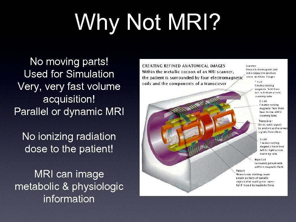 Why Not MRI? No moving parts! Used for Simulation Very, very fast volume acquisition!