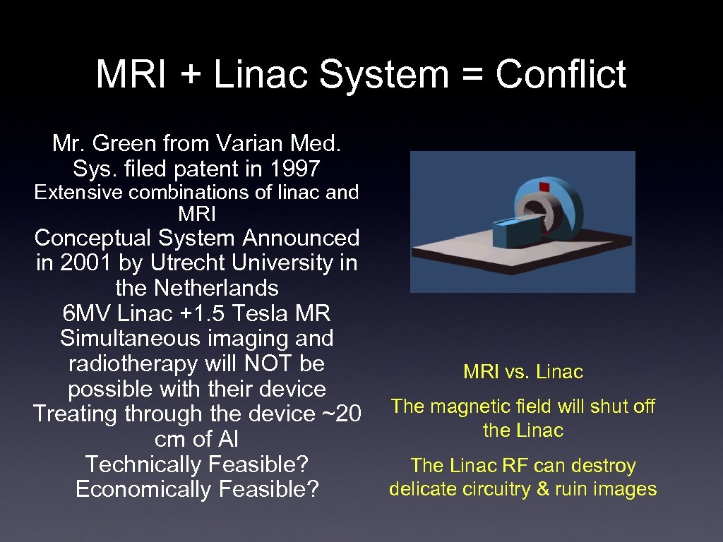 MRI + Linac System = Conflict Mr. Green from Varian Med. Sys. filed patent