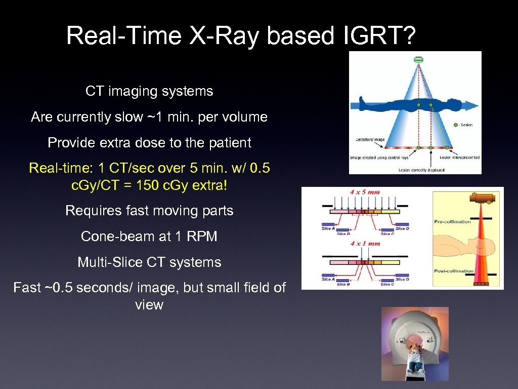 Real-Time X-Ray based IGRT? CT imaging systems Are currently slow ~1 min. per volume