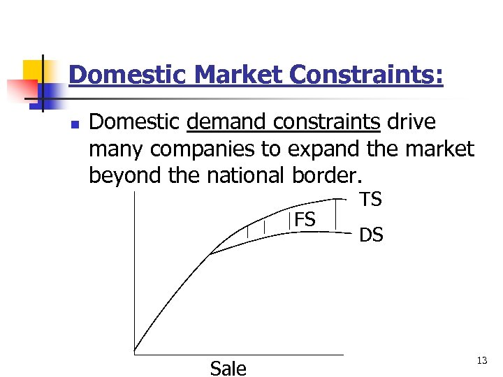 Domestic Market Constraints: n Domestic demand constraints drive many companies to expand the market