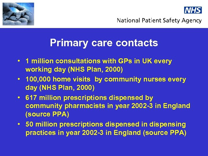 Primary care contacts • 1 million consultations with GPs in UK every working day