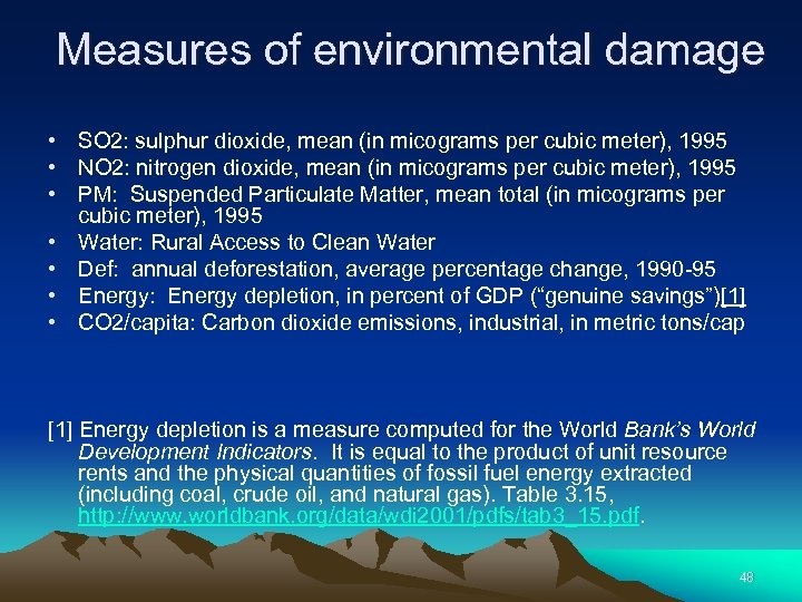 Measures of environmental damage • SO 2: sulphur dioxide, mean (in micograms per cubic