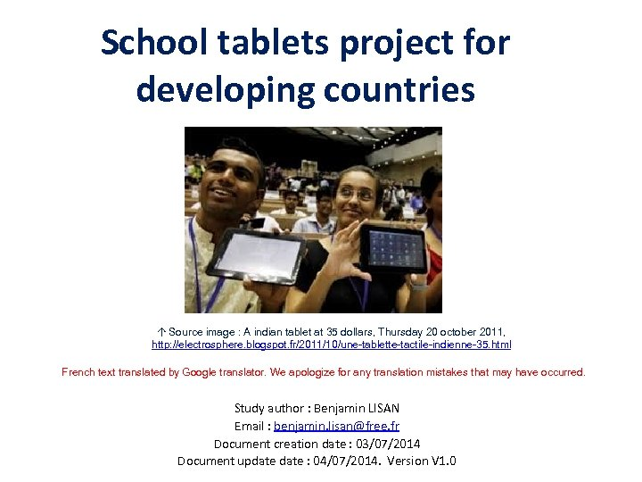 School tablets project for developing countries ↑ Source image : A indian tablet at