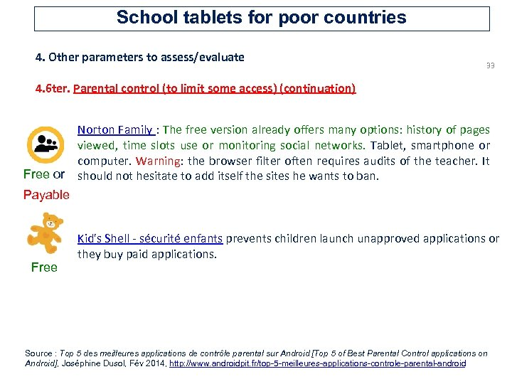 School tablets for poor countries 4. Other parameters to assess/evaluate 33 4. 6 ter.