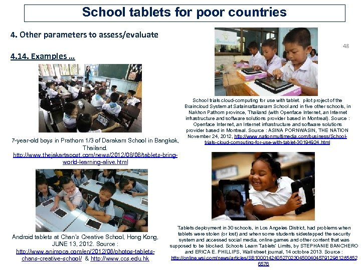 School tablets for poor countries 4. Other parameters to assess/evaluate 48 4. 14. Examples
