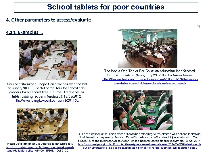 School tablets for poor countries 4. Other parameters to assess/evaluate 49 4. 14. Examples