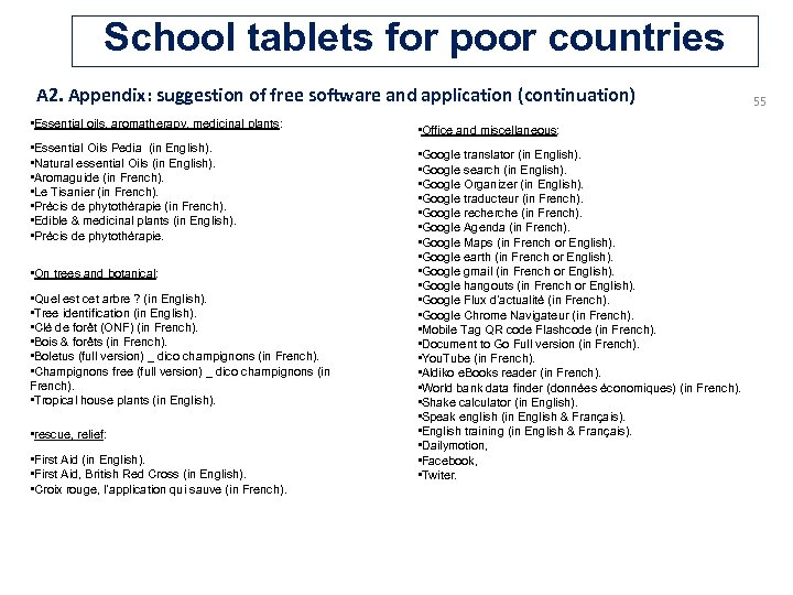 School tablets for poor countries A 2. Appendix: suggestion of free software and application
